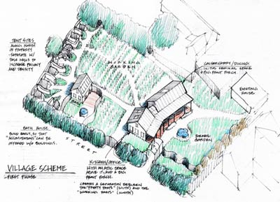 Annotated axonometric view of Heydendahl Center