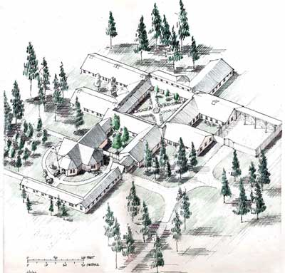 Axonometric site plan of SPA Monastery