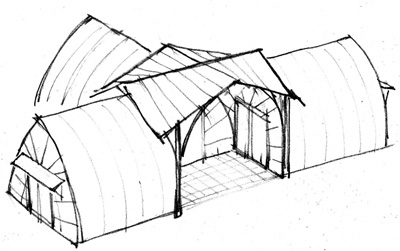 Axonometric view of Bale Tent