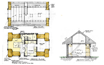 Plan and section of Jumbo Bale Cottage