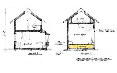 Section sketch of Long Thin Cottage