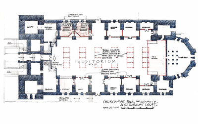 Annotated plan of Church of St. Paul the Apostle