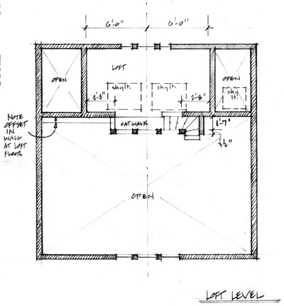 Annotated plan of garage, loft level