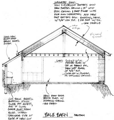 Sketch section of McDaniel Barn